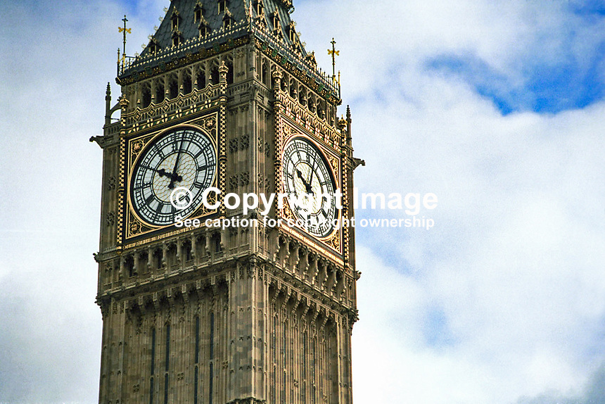 Big Ben, clock, clock tower, Palace of Westminster, London, UK, seat of the British Parliament, Ref: 199902078..Copyright Image from Victor Patterson, 54 Dorchester Park, Belfast, UK, BT9 6RJ..Tel: +44 28 9066 1296.Mob: +44 7802 353836.Voicemail +44 20 8816 7153.Skype: victorpattersonbelfast.Email: victorpatterson@mac.com.Email: victorpatterson@ireland.com (back-up)..IMPORTANT: If you wish to use this image or any other of my images please go to www.victorpatterson.com and click on the Terms & Conditions. Then contact me by email or phone with the reference number(s) of the image(s) concerned.