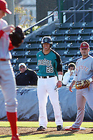 Coastal Carolina Chanticleers outfielder Daniel Bowman #26 on the basepaths during a game against the North Carolina State Wolfpack at BB&T Coastal Field on February 26, 2012 in Myrtle Beach, SC.  Coastal Carolina defeated N.C. State 3-2. (Robert Gurganus/Four Seam Images)