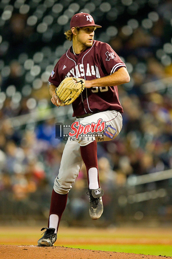 Starting pitcher Michael Wacha #38 of the Texas A&M Aggies in action against the Rice Owls at Minute Maid Park on March 5, 2011 in Houston, Texas.  Photo by Brian Westerholt / Four Seam Images