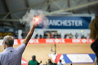 Picture by Allan McKenzie/SWpix.com - 06/01/2018 - Track Cycling - Revolution Champion Series 2017 - Round 3 - HSBC UK National Cycling Centre, Manchester, England - Firing gun, starting pistol, Manchester, cycling.
