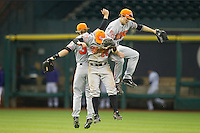 (L-R) Colt Atwood #35, Luke Plucheck #26 and Travis Lee #5 celebrate their win over the Texas Christian Horned Frogs at Minute Maid Park on February 28, 2014 in Houston, Texas.  The Bearkats defeated the Horned Frogs 9-4.  (Brian Westerholt/Four Seam Images)