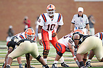 2 September 2006: Syracuse quarterback Perry Patterson (10) gets a pre-snap read on the Wake Forest defense. Wake Forest defeated Syracuse 20-10 at Groves Stadium in Winston-Salem, North Carolina in an NCAA college football game.