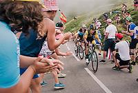 Primoz Roglic (SVK/LottoNL-Jumbo) &amp; Romain Bardet (FRA/AG2R-LaMondiale) up the last climb of the 2018 Tour: the Col d'Aubisque (HC/1709m/16.6km@4.9%)<br /> <br /> Stage 19: Lourdes &gt; Laruns (200km)<br /> <br /> 105th Tour de France 2018<br /> &copy;kramon