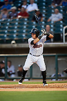 Birmingham Barons second baseman Bryant Flete (3) at bat during a game against the Pensacola Blue Wahoos on May 8, 2018 at Regions FIeld in Birmingham, Alabama.  Birmingham defeated Pensacola 5-2.  (Mike Janes/Four Seam Images)