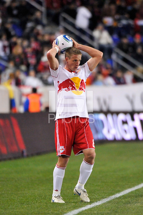 Jan Gunnar Solli (8) of the New York Red Bulls on a throw in. The New York Red Bulls defeated the Seattle Sounders 1-0 during a Major League Soccer (MLS) match at Red Bull Arena in Harrison, NJ, on March 19, 2011.
