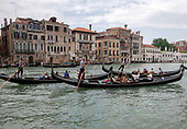 High resolution view of the gondola traffic on the Canal Grande (Grand Canal) in Venice, Italy during the morning on Tuesday, May 29, 2018.<br /> Credit: Ron Sachs / CNP