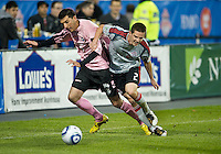 28 April 2010: Toronto FC midfielder Sam Cronin #2 and Montreal Impact midfielder Tony Donatelli #14 battle for a ball during a Nutrilite Canadian Championship game between the Montreal Impact and Toronto FC at BMO Field in Toronto..Toronto FC won 2-0.....
