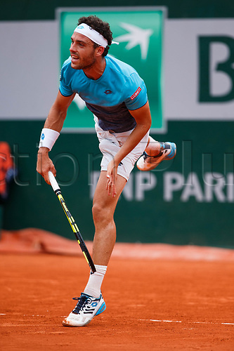 June 5th 2018, Roland Garros, Paris, France; French Open tennis tournament;  MARCO CECCHINATO (ITA) during day ten match of the 2018 French Open 2018