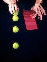 FALLING BALL &amp; PAPER -stroboscopic<br /> Newton's Second Law of Motion<br />  The 3&quot; tennis ball. will reach the ground first. The paper experiences greater air resistance resulting in a smaller net force acting upon it  and it falls more slowly than the ball. Exposure was made for 1/2 second, 10 flashes per second.
