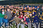 The Dr Crokes team, mentors and fans celebrate their victory over Gneeveguilla in the O'Donoghue Cup final in the Fitzgerald Stadium, Killarney on Sunday.