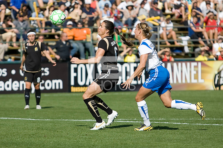 Brandi Chastain (left) controls the ball against Nancy Augustyniak-Goffi (right). FC Gold Pride defeated the Boston Breakers 2-1 at Buck Shaw Stadium in Santa Clara, California on April 5th, 2009. Photo by Kelley Cox /isiphotos.com