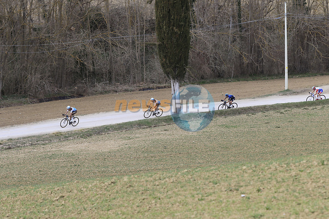 The breakaway Alexandre Geniez (FRA) AG2R La Mondiale and teammate Nico Denz (GER), Diego Rosa (ITA) Team Sky and Leo Vincent (FRA) Groupama-FDJ on sector 5 Lucignano d'Asso during Strade Bianche 2019 running 184km from Siena to Siena, held over the white gravel roads of Tuscany, Italy. 9th March 2019.<br /> Picture: Eoin Clarke | Cyclefile<br /> <br /> <br /> All photos usage must carry mandatory copyright credit (© Cyclefile | Eoin Clarke)