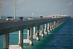 Cars head northbound across the Seven Mile Bridge connecting Marathon and Bahia Honda in the Florida Keys