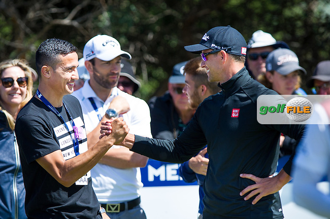 Adam Scott (AUS) meets Soccer hero during the ISPS Handa World Cup of Golf, from Kingston heath Golf Club, Melbourne Australia. 24/11/2016<br /> Picture: Golffile | Anthony Powter<br /> <br /> <br /> All photo usage must carry mandatory copyright credit (&copy; Golffile | Anthony Powter)