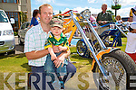 CUSTOM BIKES: Father and son Alan and Tadhg Doran from Listowel enjoying the custom bikes at the Ireland Bike Fest in Killarney on Sunday.