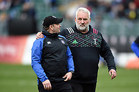 Bath Rugby first team coach Darren Edwards and Dennis Harding of Harlequins. Gallagher Premiership match, between Bath Rugby and Harlequins on March 2, 2019 at the Recreation Ground in Bath, England. Photo by: Patrick Khachfe / Onside Images