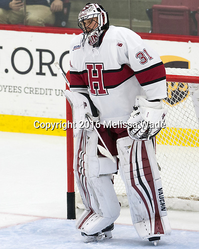 Merrick Madsen (Harvard - 31) - The Harvard University Crimson defeated the visiting Boston College Eagles 5-2 on Friday, November 18, 2016, at the Bright-Landry Hockey Center in Boston, Massachusetts.