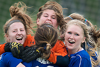 NWA Democrat-Gazette/CHARLIE KAIJO Rogers High School players react after winning the semifinals of the 7A Girls State Soccer Tournament, Saturday, May 12, 2018 at Whitey Smith Stadium at Rogers High School in Rogers. Rogers advanced to the finals when midfielder Skylurr Patrick (3) scored both of Rogers' goals defeating Southside High School, 2-1.