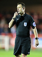Referee Stuart Attwell<br /> <br /> Photographer Alex Dodd/CameraSport<br /> <br /> EFL Checkatrade Trophy - Northern Section Group B - Accrington Stanley v Blackpool - Tuesday 3rd October 2017 - Crown Ground - Accrington<br />  <br /> World Copyright &copy; 2018 CameraSport. All rights reserved. 43 Linden Ave. Countesthorpe. Leicester. England. LE8 5PG - Tel: +44 (0) 116 277 4147 - admin@camerasport.com - www.camerasport.com
