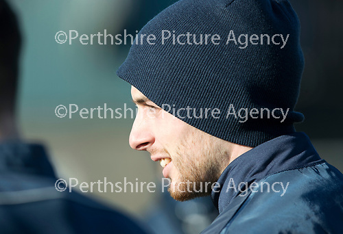 St Johnstone Training&hellip;.09.02.18<br />Joe Shaughnessy pictured during training this morning at McDiarmid Park ahead of tomorrow&rsquo;s Scottish Cup tie at Hearts<br />Picture by Graeme Hart.<br />Copyright Perthshire Picture Agency<br />Tel: 01738 623350  Mobile: 07990 594431
