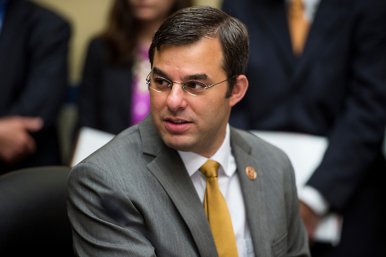 "UNITED STATES - MAY 8: Rep. Justin Amash, R-Mich., participates in the House Oversight and Government Reform Committee hearing on ""Benghazi: Exposing Failure and Recognizing Courage"" on Wednesday, May 8, 2013. (Photo By Bill Clark/CQ Roll Call)"