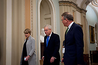 Senate Majority Leader Mitch McConnell (R-KY) makes his way to the Senate Chamber at the US Capitol in Washington, DC, Tuesday, March 17, 2020. Credit: Rod Lamkey / CNP/AdMedia