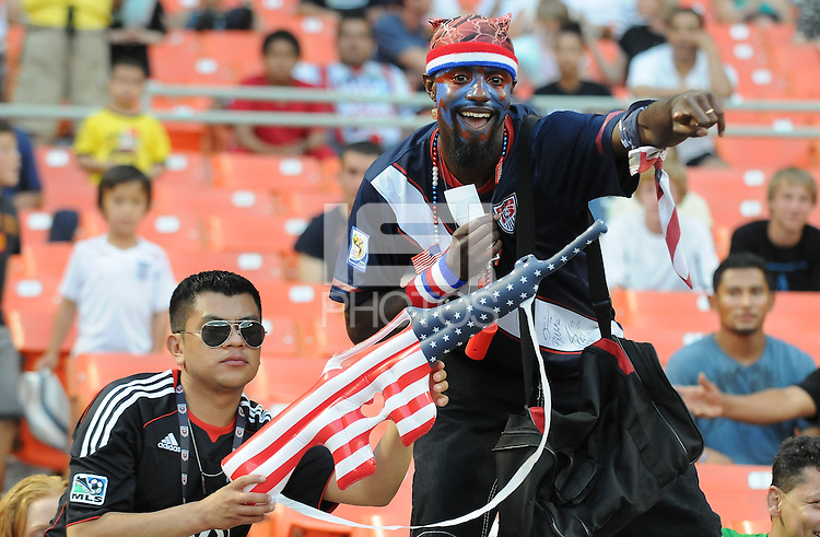 USA fan coming to support DC United.  DC United defeated Chivas USA 3-2 at RFK Stadium, Saturday  May 29, 2010.
