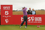 Ryder Cup captain Paul McGinley his his drive on the 5th hole during the opening round of the ISPS Handa Wales Open 2013 at the Celtic Manor Resort<br /> <br /> 29.08.13<br /> <br /> ©Steve Pope-Sportingwales