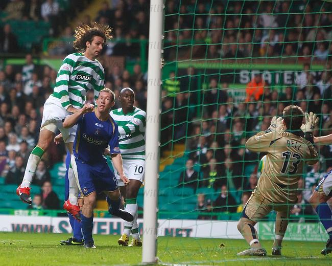 Georgios Samaras heads straight down into the arms of goalie Cameron Bell