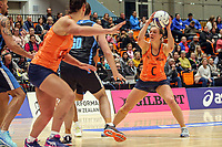 All Stars Claire Kersten has the ball during the Cadbury Netball Series match between NZ Men and All Stars at the Bruce Pullman Arena in Papakura, New Zealand on Friday, 28 June 2019. Photo: Dave Lintott / lintottphoto.co.nz