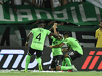 MEDELLÍN -COLOMBIA - 18-06-2017: Jefferson Duque (#9) del Deportivo Cali  celebra un gol anotado a Atlético Nacional durante partido de vuelta por la final de la Liga Águila I 2017 jugado en el estadio Atanasio Girardot de la ciudad de Medellín. / Jefferson Duque (#9) Player of Deportivo Cali celebrates a goal scored to Atletico Nacional during second leg match for the final of the Aguila League I 2017 at Atanasio Girardot stadium in Medellin city. Photo: VizzorImage/ León Monsalve /Cont
