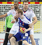 20.01.2013 Barcelona, Spain. IHF men's world championship, eighth.final. Picture show Ermir Arnarson    in action during game between Island  vs France at Palau st Jordi