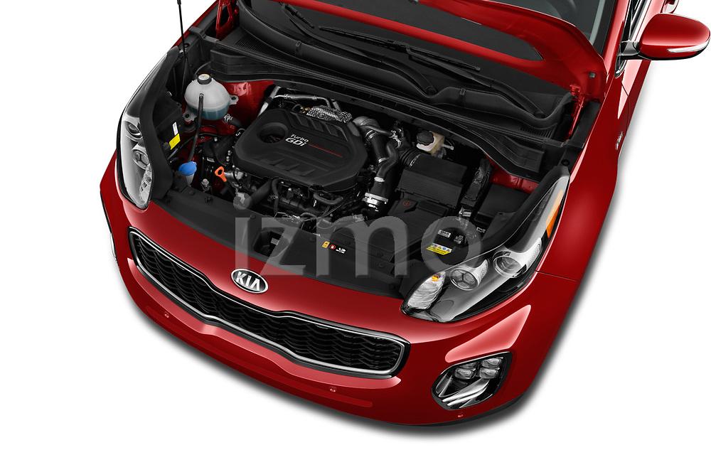 Car stock 2019 KIA Sportage SX Turbo 5 Door SUV engine high angle detail view