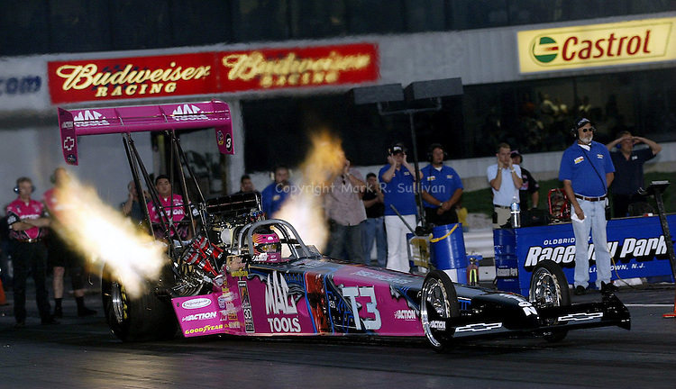 "(MULDOWNEY RETIREMENT)--On Weds July 9,2003--Former World Top Fuel Champion Shirley Muldowney blasts off from the starting line at Old Bridge Twp. Raceway Park in Old Bridge for the last time while racing her oldest rival Don ""Big Daddy"" Garlits. Muldowney the first woman to win a NHRA World Championship is retiring at the end of this season from competitive drag racing.   Raceway Park was the were the two met, and  were Garlits signed for her Top Fuel license when she was starting out in drag racing.(MARK R. SULLIVAN)"