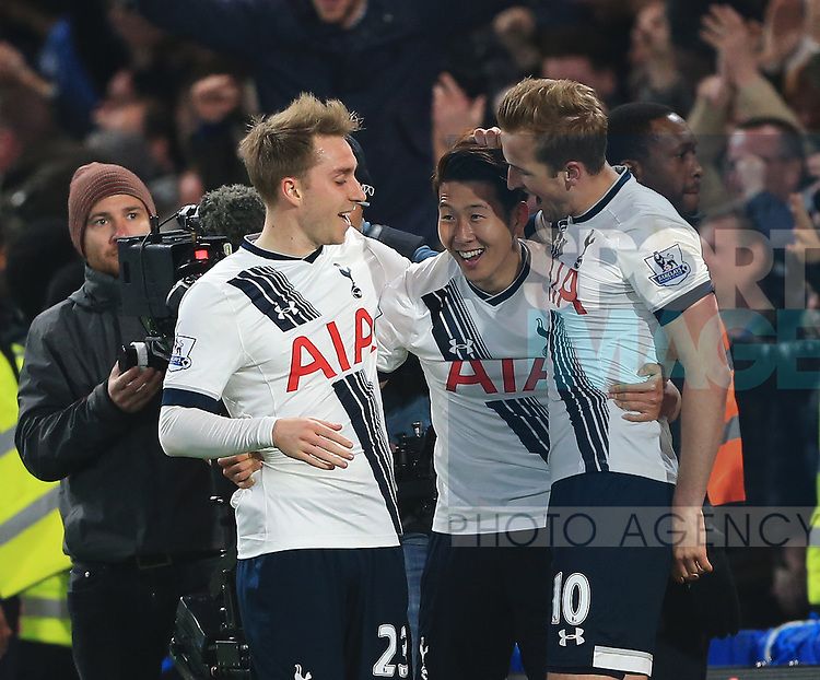 Tottenham's Heung-Min Son celebrates scoring his sides second goal during the Barclays Premier League match at Stamford Bridge Stadium.  Photo credit should read: David Klein/Sportimage