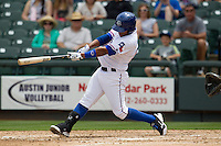 Round Rock Express second baseman Yangevis Solarte #26 swings the bat against the New Orleans Zephyrs in the Pacific Coast League baseball game on April 21, 2013 at the Dell Diamond in Round Rock, Texas. Round Rock defeated New Orleans 7-1. (Andrew Woolley/Four Seam Images).