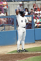 Chicago White Sox Bo Jackson (8) on rehab assignment with the Sarasota White Sox circa August 1991 at Ed Smith Stadium in Sarasota, Florida.  (MJA/Four Seam Images)