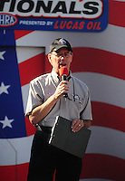 Sept. 6, 2010; Clermont, IN, USA; NHRA announcer Bob Frey during the U.S. Nationals at O'Reilly Raceway Park at Indianapolis. Mandatory Credit: Mark J. Rebilas-