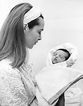 Polish film star Barbara Brylska and her daughter Basya a week after the birth of her daughter / Барбара Брыльска и ее дочь Бася через неделю после рождения дочери. <br /> Личный архив Б.Брыльской
