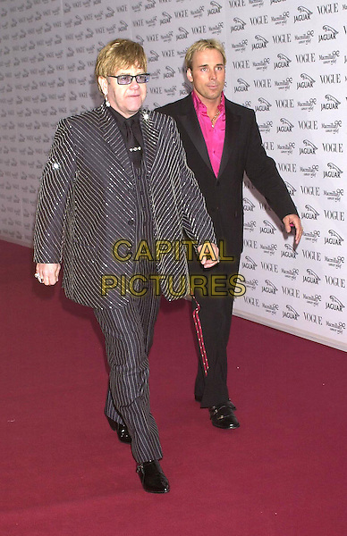 ELTON JOHN & DAVID FURNISH.Arrivals at Vogue/Jaguar party in aid of MacMillan Cancer Relief, at Waddesdon Manor, Buckinghamshire,.11th June 2001..full length .Ref: PL.www.capitalpictures.com.sales@capitalpictures.com.©Capital Pictures.