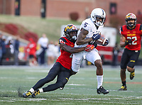 College Park, MD - November 25, 2017: Penn State Nittany Lions wide receiver DaeSean Hamilton (5) gets tackled by a Maryland Terrapins defender during game between Penn St and Maryland at  Capital One Field at Maryland Stadium in College Park, MD.  (Photo by Elliott Brown/Media Images International)