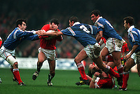 Pix:Michael Steele/SWpix...International Rugby Union. Wales v France, Five Nations, Cardiff, 1993...COPYRIGHT PICTURE>>SIMON WILKINSON..Wales v France.