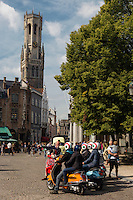 Belgique, Flandre-Occidentale, Bruges, centre historique classé Patrimoine Mondial de l'UNESCO, Place du Burg , Place du Bourg) et le beffroi , visite de la ville en vespa // Belgium, Western Flanders, Bruges, historical centre listed as World Heritage by UNESCO, The Burg and  Belfry Tower