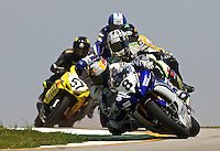 Josh Herrin leads a pack of motorcycles at the AMA Superbike Showdown at Road ATlanta, Braselton, GA, April 2010.  (Photo by Brian Cleary/www.bcpix.com)