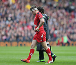 Dan Biggar of Wales walks back into position after receiving treatment - RBS 6Nations 2015 - Scotland  vs Wales - BT Murrayfield Stadium - Edinburgh - Scotland - 15th February 2015 - Picture Simon Bellis/Sportimage