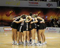 09.07.2011 Silver Ferns in action during the netball match between Silver Ferns and England at the Mission Foods World Netball Championship 2011 held at the Singapore Indoor Stadium in Singapore . Mandatory Photo Credit ©Michael Bradley.