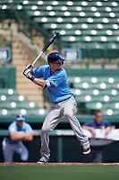 Tampa Bay Rays shortstop Matt Duffy (5) at bat while on rehab assignment during an Instructional League game against the Baltimore Orioles on October 2, 2017 at Ed Smith Stadium in Sarasota, Florida.  (Mike Janes/Four Seam Images)
