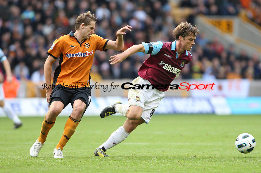 Scott Parker of West Ham and David Edwards of Wolves - Wolverhampton Wanderers vs West Ham United, Barclays Premier League at Molineaux, Wolverhampton - 16/10/10 - MANDATORY CREDIT: Rob Newell/TGSPHOTO - Self billing applies where appropriate - 0845 094 6026 - contact@tgsphoto.co.uk - NO UNPAID USE.