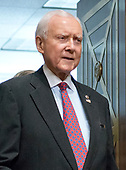 "United States Senator Orrin Hatch (Republican of Utah), Chairman of the US Senate Committee on Finance arrives after calling a break as US Capitol Police arrested protestors in wheelchairs during the ""Hearing to Consider the Graham-Cassidy-Heller-Johnson Proposal"" on the repeal and replace of the Affordable Care Act (ACA) also known as ""ObamaCare"" in Washington, DC on Monday, September 25, 2017.  Senator Hatch, as the most senior senator in the majority party also serves as the president pro tempore of the US Senate, a position that puts him third in the line of succession to the US presidency.<br /> Credit: Ron Sachs / CNP"