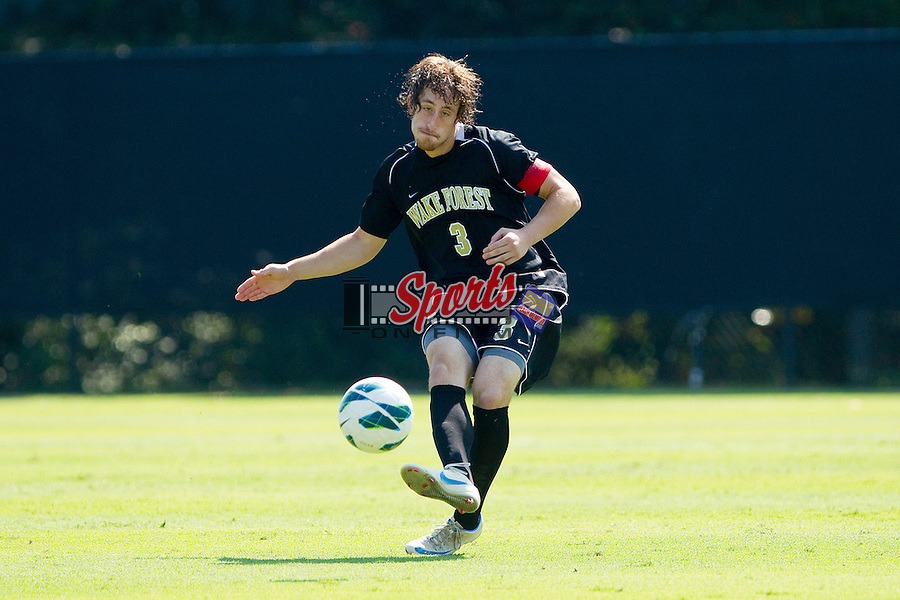 Anthony Arena (3) of the Wake Forest Demon Deacons passes the ball during first half action against the Boston College Eagles at Spry Soccer Stadium on October 6, 2012 in Winston-Salem, North Carolina.  The Eagles defeated the Demon Deacons 1-0.  (Brian Westerholt/Sports On Film)